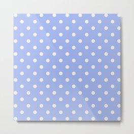 Pastel Polka Dot Blue & White Pattern Metal Print