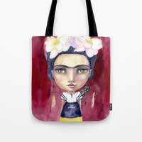 jane davenport Tote Bags featuring Little Frida by Jane Davenport by Jane Davenport