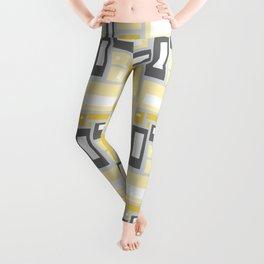 Simple Geometric Pattern in Yellow and Gray Leggings
