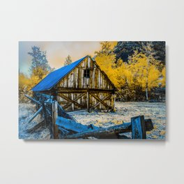Rustic Barn Among The Aspens, Idaho Metal Print