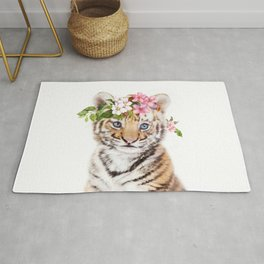 Tiger Cub with Flower Crown Rug