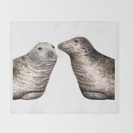 Grey seals(Halichoerus grypus) Throw Blanket