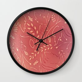 Autumn Leaves Pattern - Rustic Wall Clock