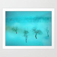Bare bones in Winter ~ Blue Art Print