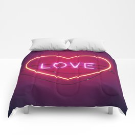 Pink Love in the Heart Neon Sign Comforters