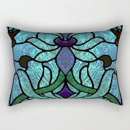 Aqua Green and Blue Art Nouveau Stained Glass Design Rectangular Pillow