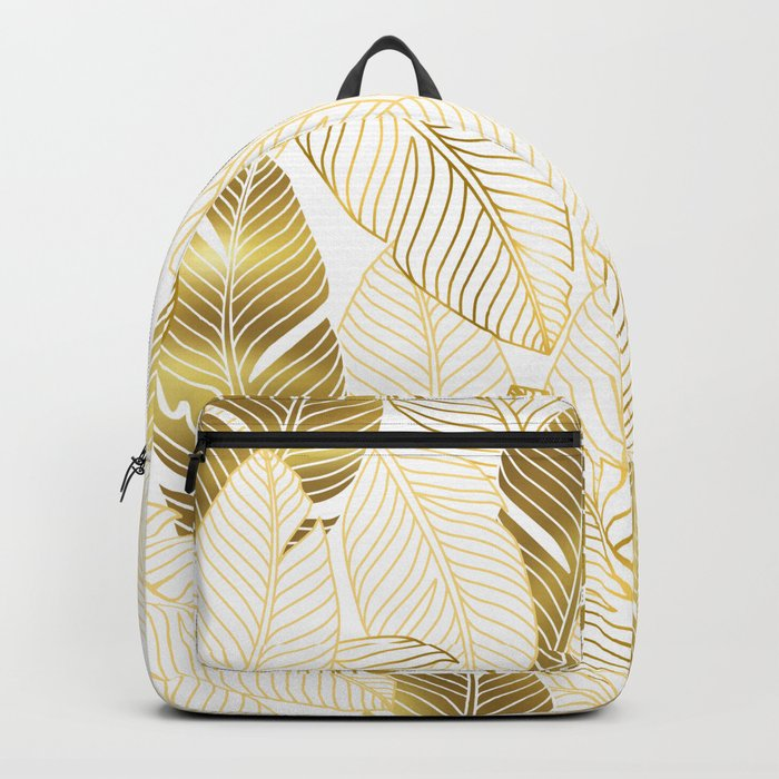Gold tropical leaves pattern Backpack