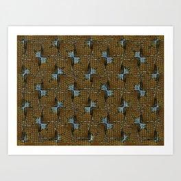 Blue Bowtie Pattern on Brown Art Print