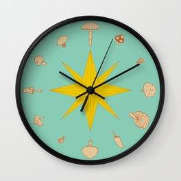 Fungi V2 Vintage Mushroom Pattern Wall Clock