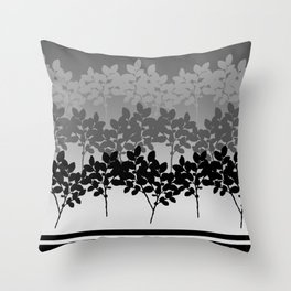 Hombre Sprigs Black Grey Throw Pillow