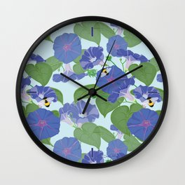 Glory Bee - Vintage Floral Morning Glories and Bumble Bees Wall Clock