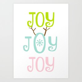 Holiday JOY antlers - coastal Christmas Art Print