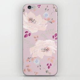 Soft pink blooming watercolor roses iPhone Skin