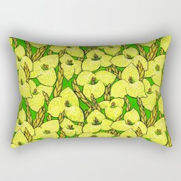 Puya Flowers, Floral Pattern, Green Yellow Rectangular Pillow