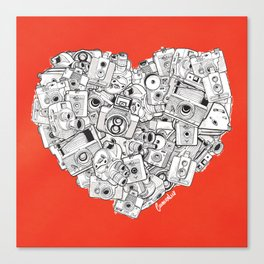 Camera Heart - on red Canvas Print