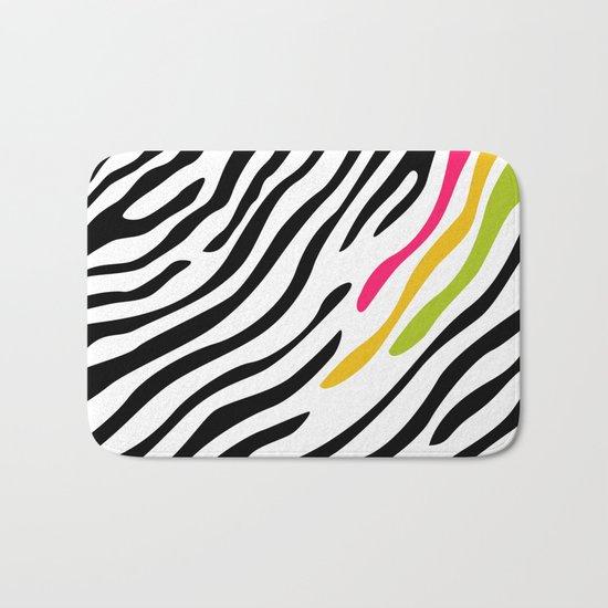 Zebra print. Multicolor Bath Mat