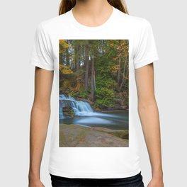waterfall autumn forest lake Millstone Creek Bowen Park Nanaimo British Columbia Canada T-shirt