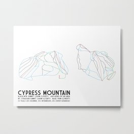 Cypress Mountain, BC, Canada - Minimalist Trail Art Metal Print