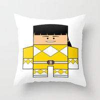 power rangers Throw Pillows featuring Mighty Morphin Power Rangers - The Original Yellow Ranger Unmasked (Trini) by Choo Koon Designs