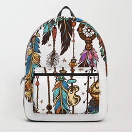 Feathers and crystals in aztec style Backpack