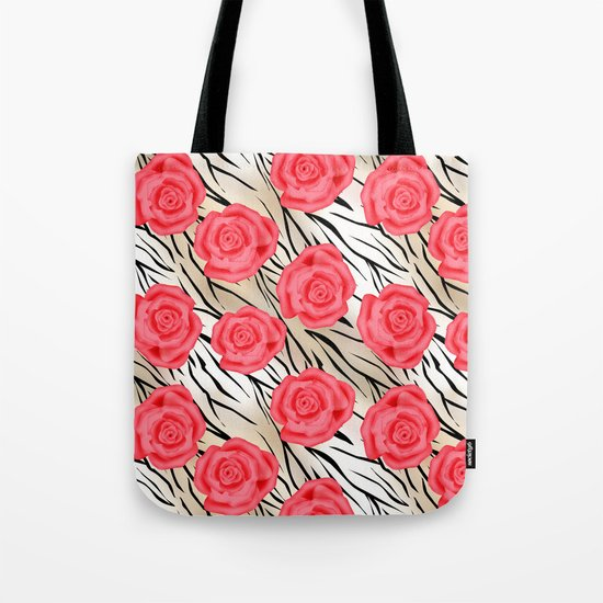 Red roses on a light tiger background . Tote Bag