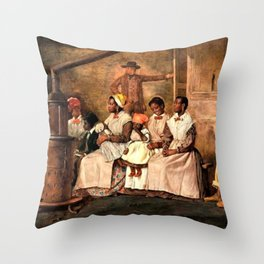 "Classical Masterpiece: Eyre Crowe's ""Slaves Waiting for Sale"" (1861) Throw Pillow"