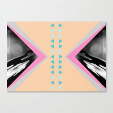 Peachy with Blue Triangles Canvas Print