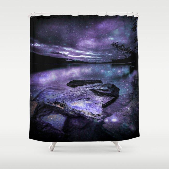 Magical Mountain Lake Purple Teal Shower Curtain