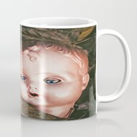 creepy Mugs featuring Creepy Doll by Maria Heyens