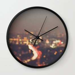 Los Angeles cityscape at night. Abstract Mulholland Wall Clock