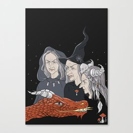 3 witches and a dragon Canvas Print