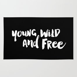 Young Wild and Free black and white typography poster black-white design home decor bedroom wall art Rug