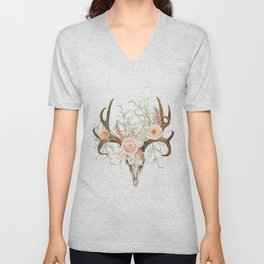 Bohemian deer skull and antlers with flowers Unisex V-Neck