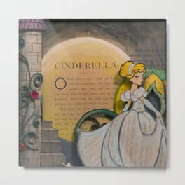Cinderella Book Art Illustration Metal Print