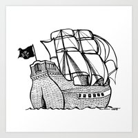pirate ship Art Prints featuring Pirate Ship by Addison Karl
