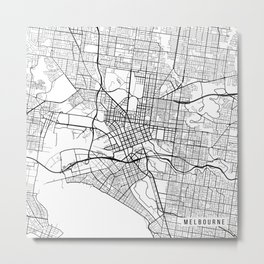 Melbourne Map, Australia - Black and White Metal Print