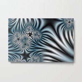 Blue Zebra Fractal Metal Print