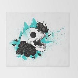 Skull 'n' Roses (ScribbleNetty-Colored) Throw Blanket