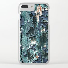 Abstract Turquoise Painted Wood Clear iPhone Case