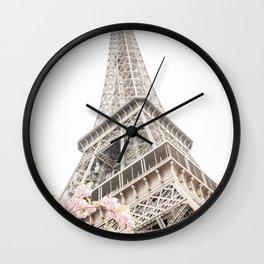 Eiffel Tower Cherry Blossoms Wall Clock
