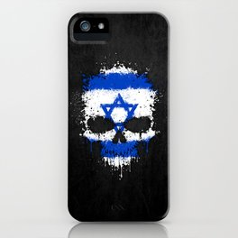 Flag of Israel on a Chaotic Splatter Skull iPhone Case