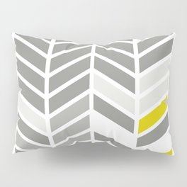 Deconstructed Chevron A – Gray / Yellow / Orange Pattern Print Pillow Sham