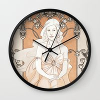 daenerys Wall Clocks featuring Khalisi Art Nouveau by IdentityPollution