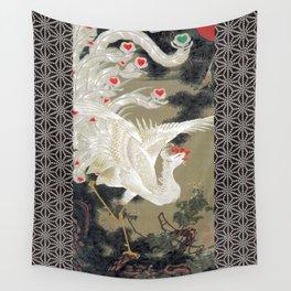 Jakuchu Phoenix with Hemp Pattern Background Wall Tapestry
