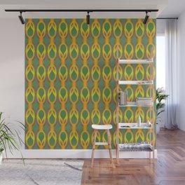 Retro-Delight - Double Drops - Golden Green Wall Mural