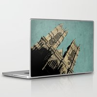 downton abbey Laptop & iPad Skins featuring Westminster Abbey by sinonelineman