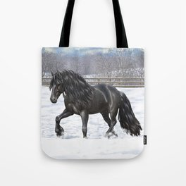 Friesian Horse Trotting In Snow Tote Bag