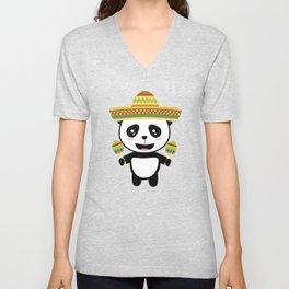 Mexican Panda Fiesta T-Shirt for all Ages Dotqm Unisex V-Neck