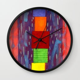 Colorful piled Cubes within free Painting Wall Clock