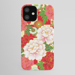Red Pink Peony Vintage Japanese Floral Kimono Pattern iPhone Case